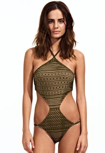 Low-cut khaki trikini, strappy back - MILITAR
