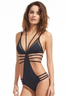 Black Brazilian trikini with multi-strapping - ONE PIECE DALLAS