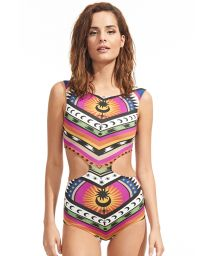 Trikini with an original cut-out and ethnic-style print - ONE PIECE LOS ANGELES