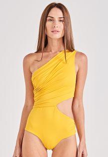 Hel badedrakt gul asymmetrisk plissert - PLISSADO AMARELO