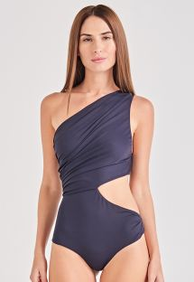 Black asymmetric draped one-piece swimsuit - PLISSADO PRETO
