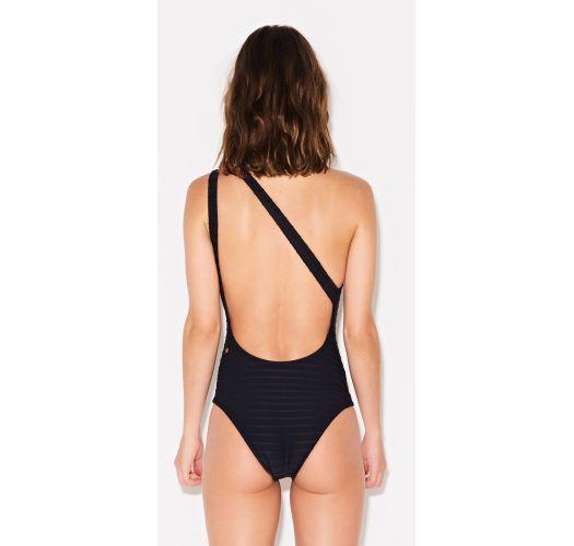 Iridescent ribbed black asymmetric swimsuit - UMA ALÇA PRETO