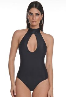 Black choker one-piece swimsuit with drop cutout - PESCOÇO LISO