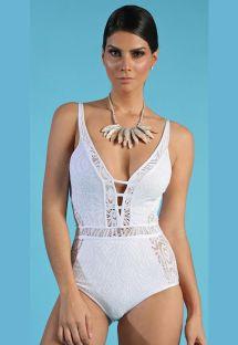 White lace swimsuit with strappy neckline - MAIO RENDA COM BRILHO