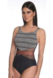 Striped 1 piece swimsuit with transparencies - TULE TRIANGULARES