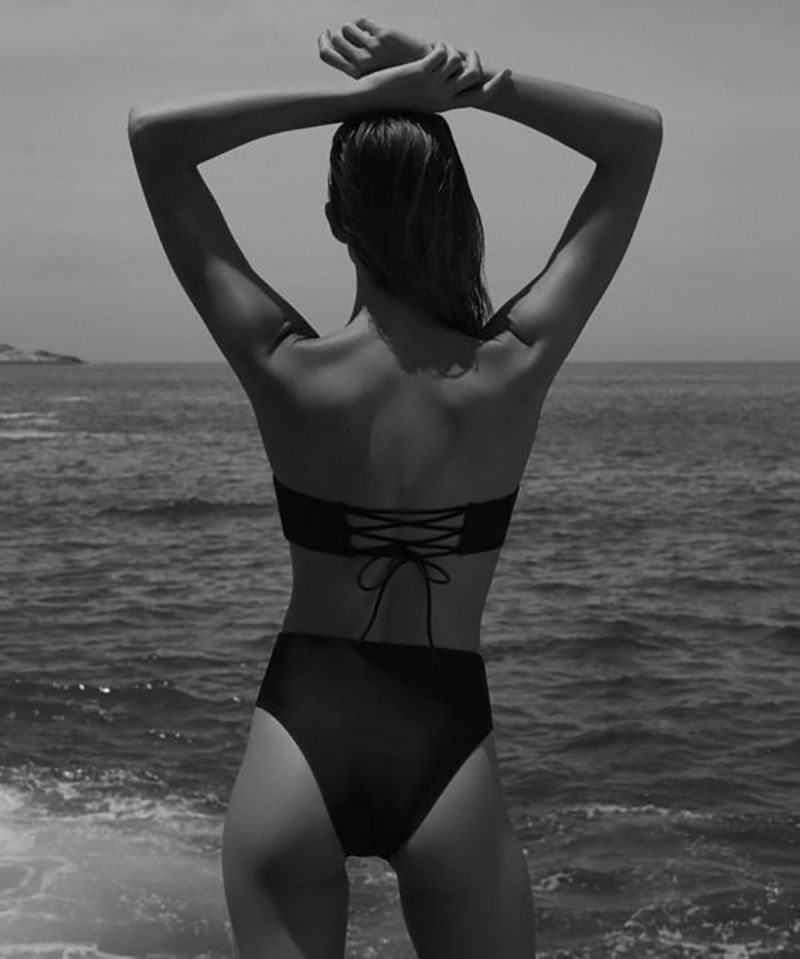 Luxurious black monokini with laced back - MAITE BLACK
