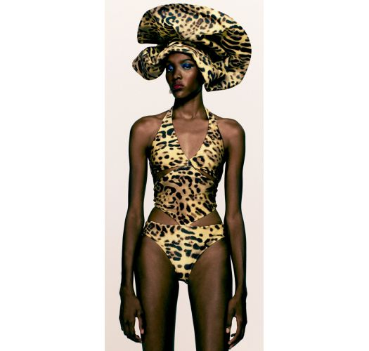 Leopard print monokini with original cutouts - LEOPARD PRINT SWIMSUIT WITH CUT-OUTS