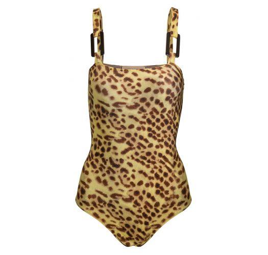 Accessorized leopard print one-piece swimsuit - LEOPARD PRINT SWIMSUIT WITH HOOPS
