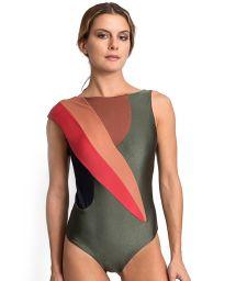 Luxurious one piece khaki swimsuit colorful inserts - LEONA CROCO