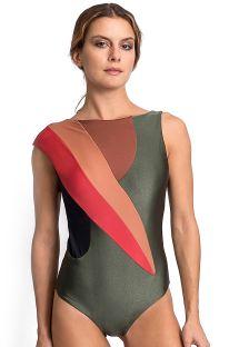 Lujoso traje de baño color caqui de una pieza con inserciones coloridas - LEONA CROCO