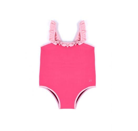 Pink badedragt med flæsede stropper - MAIO ALEGRIA