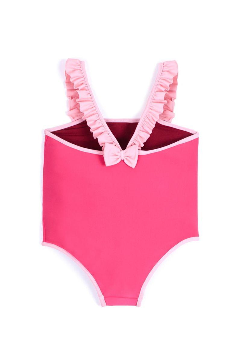 Купальник розового цвета с оборками на бретелях - MAIO ALEGRIA