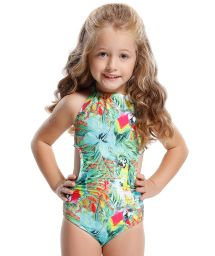 Girl's trikini bikini, coloured tropical print - CORAL COLORIDO