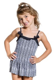 Black and white girl swimsuit with skirty bottom - BOLINHA BRANCA