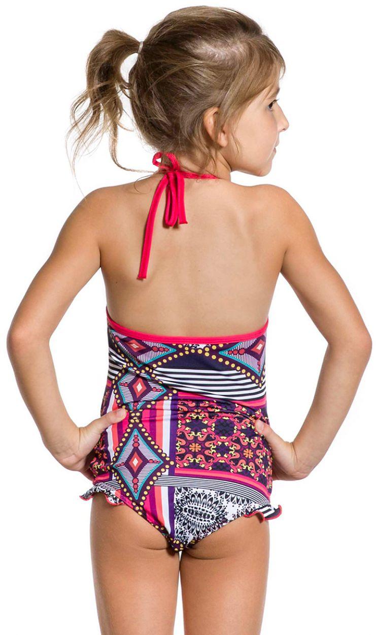 Girl one-piece swimsuit with ruffle details - MAIO DOCINHO