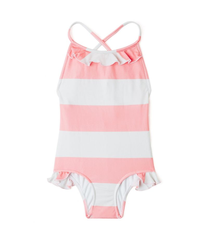 One-piece girt`s swimsuit in pink and white stripes - MAIO BABADO CLUB