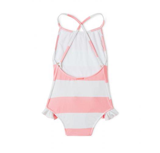 Слитный купальник для девочки в бело-розовую полоску - MAIO BABADO CLUB