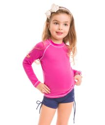 T-shirt fille rose manches longues coutures contrastantes - CAMISETA ROSA - SOLAR PROTECTION UV.LINE