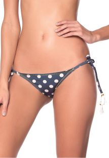 Navy side-tie scrunch bikini bottom in white polka dots - BOTTOM GEOMETRIC - POLKA NAVY AMERICAN