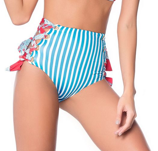 Side-laced high-waisted strappy bikini bottom - BOTTOM HOT TURQUOISE GARDEN AMERICAN