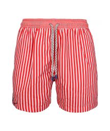 Red and white swims shorts in stripes - SWIM SHORTS MARINE STRIPES SLIM
