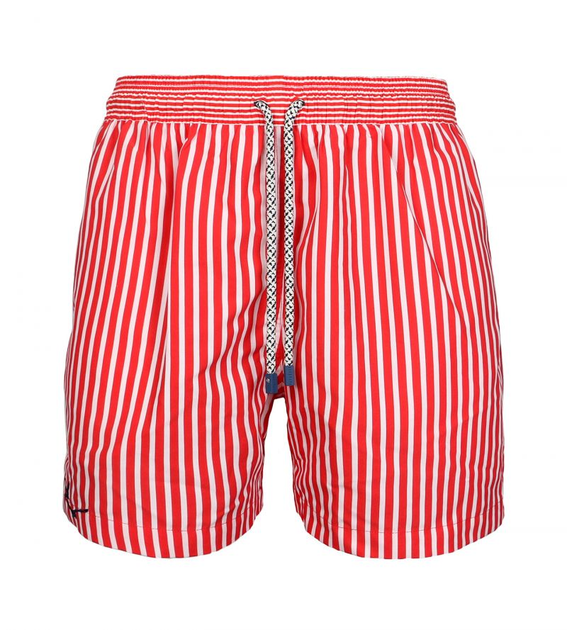 Red and white swims shorts in stripes - SWIM SHORTS MARINE STRIPES SLIM