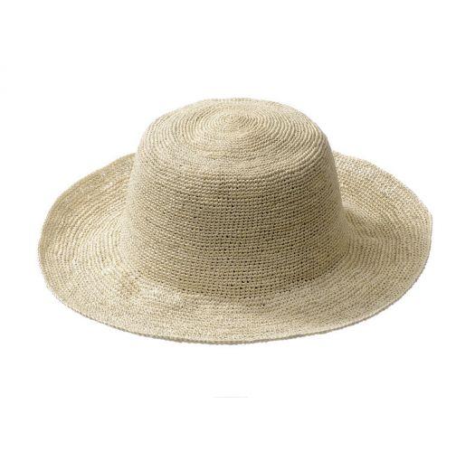 Бяла сламена шапка с голяма периферия, от Rio de Sol - HIPPIE CLASSIC NATURAL