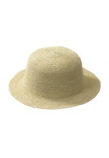 Този бяла шапка, ръчна изработка, е направена от слама Токила. - HIPPIE NATURAL