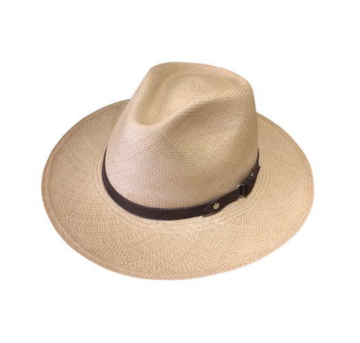 Beige hat in vegetable fiber and leather tie - RAVEL AUSTRALIA BEIGE