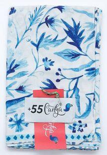 Paréo bleu et blanc floral - AZULEJOS