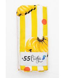 Yellow/white striped pareo, banana pattern - BANANADA