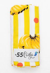 Paréo jaune/blanc rayé, motif bananes - BANANADA