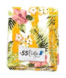 Vintage style yellow floral pareo - LISTRAS FLORIDAS