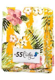 Pareo giallo con fiori, stile vintage - LISTRAS FLORIDAS