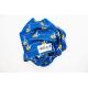Paréo bleu rayé avec ancres marines et fleurs - NAUTICO ROMANTICO
