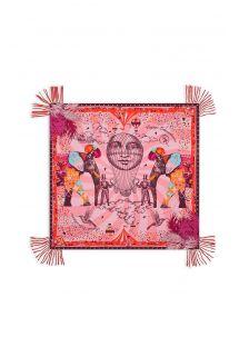Sarong rosa impreso con el tema de viaje