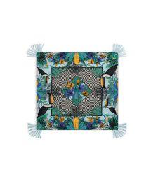 Tropical/geometric-print coloured sarong - MAGNUM TURQUOISE