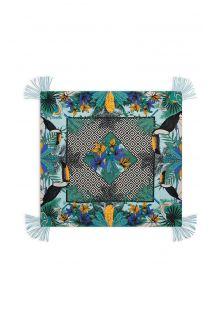 Farvestrålende sarong med tropisk/geometrisk mønster - MAGNUM TURQUOISE