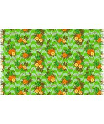 Greenpineapple-patterned fringed pareo - ABACAXI BRASIL