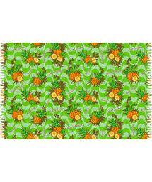 Sarong med fransar och grönt ananas motiv - ABACAXI BRASIL