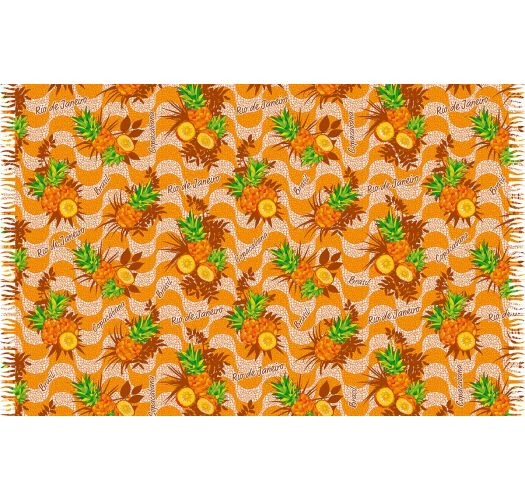 Pineapple-patterned pareo in shades of orange - ABACAXI COPACABANA