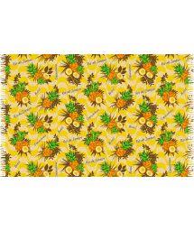 Sarong med fransar och nyanser av gult, ananas motiv - ABACAXI RIO DE JANEIRO