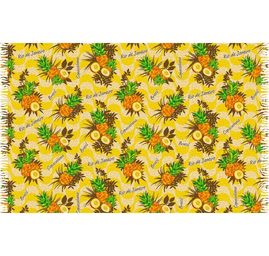 Pineapple-patterned pareo in shades ofyellow - ABACAXI RIO DE JANEIRO