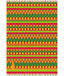 Multicoloured fringed pareo, African-style fabric - AFRICA RIO