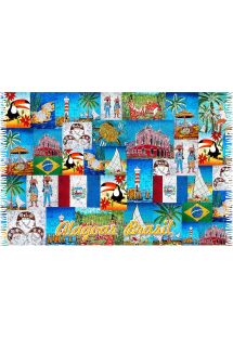 Patchwork pareo with Alagoas city motifs - ALAGOAS PATCHWORK