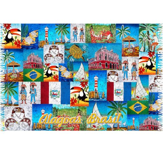 Patchwork pareo with Alagoas city motifs - ALAGOAS PATCHWORK