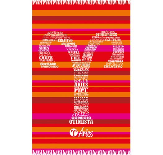 Red striped pareo with Aries zodiac sign - ARIES