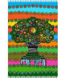 Multicoloured fringed pareo with tree of life motif - ARVORE DA VIDA NARA