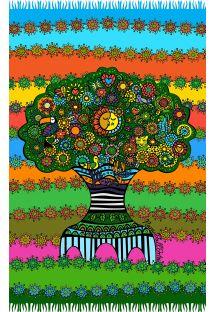 Farevstrålende Pareo med frynser og billede af livstræet - ARVORE DA VIDA NARA