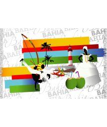 Fringed pareo with Bahia Brazilian motifs - BAHIA WAVES